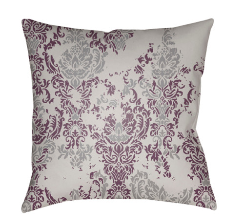 "20"" Purple and Gray Floral Square Throw Pillow Cover with Knife Edge - IMAGE 1"