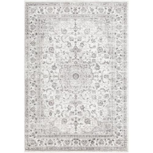 """5'3"""" x 7'3"""" Mandala Taupe and White Rectangular Area Rug - IMAGE 1"""