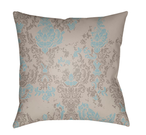 "20"" Gray and Aqua Floral Square Throw Pillow Cover with Knife Edge - IMAGE 1"