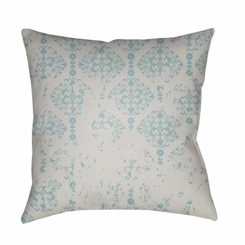 """20"""" Gray and Blue Damask Patterned Square Throw Pillow Cover - IMAGE 1"""