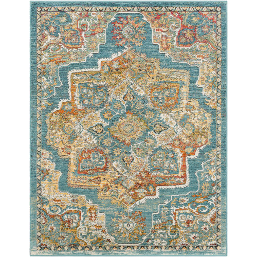 9' x 13' Traditional Style Green and Brown Rectangular Area Throw Rug - IMAGE 1
