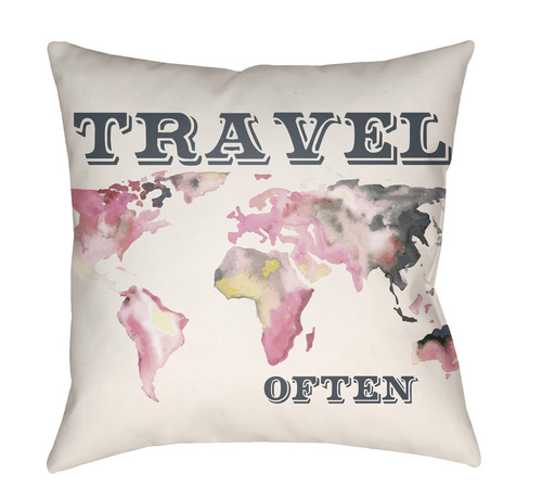"""18"""" White and Pink World Map """"TRAVEL OFTEN"""" Printed Throw Pillow Cover with Knife Edge - IMAGE 1"""