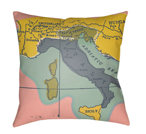 """18"""" Yellow and Pink Map Printed Throw Pillow Cover with Knife Edge - IMAGE 1"""