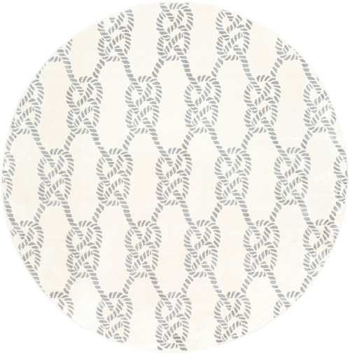 7.8' Knot Patterned Beige and Gray Round Area Throw Rug - IMAGE 1