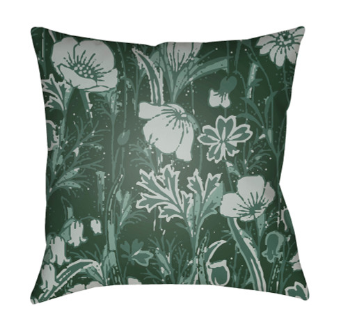 """20"""" Olive Green and Gray Floral Square Throw Pillow Cover - IMAGE 1"""
