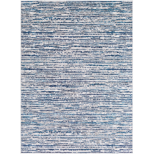 "5'3"" x 7'3"" Distressed Finish Blue and White Rectangular Area Rug - IMAGE 1"