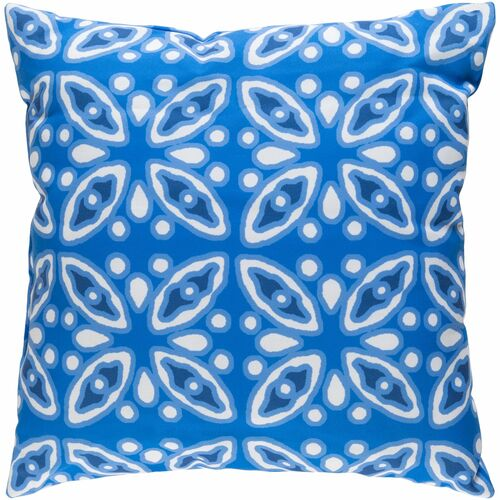 """20"""" Cobalt Blue and White Digitally Printed Square Throw Pillow Cover - IMAGE 1"""