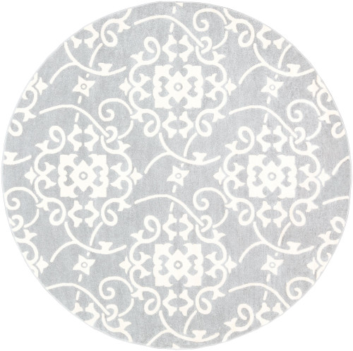 7.8' Gray and White Damask Patterned Round Area Throw Rug - IMAGE 1
