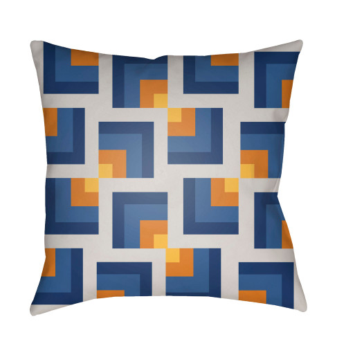 """20"""" Saffron Orange and Blue Throw Pillow Cover with Knife Edge - IMAGE 1"""