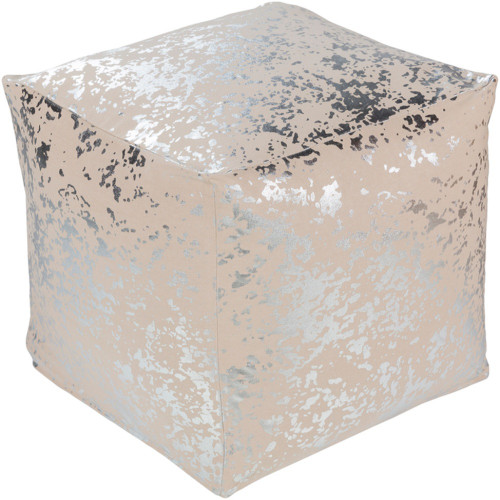 """18"""" Crescent Metallic Silver and Brown Foil Printed Cotton Pouf Ottoman - IMAGE 1"""