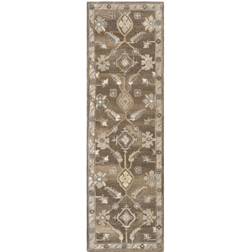 3' x 12' Persian Floral Design Brown and Beige Hand Tufted Wool Area Throw Rug Runner - IMAGE 1