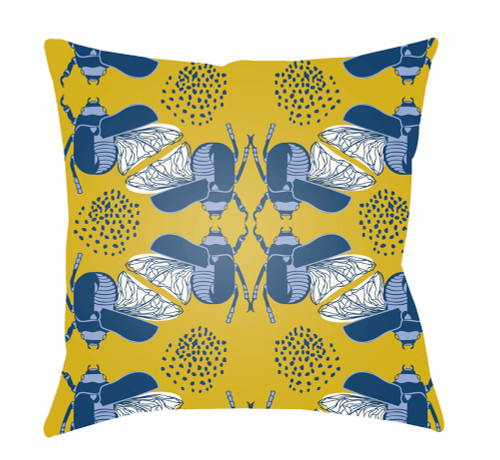"""20"""" Yellow and Blue Bugs Printed Square Throw Pillow Cover - IMAGE 1"""