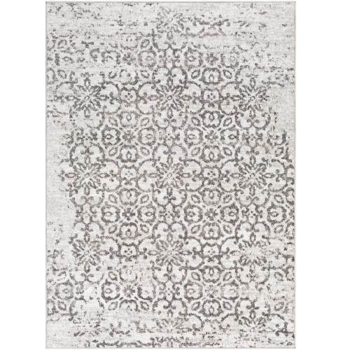 "5'3"" x 7'3"" Distressed Finish White and Taupe Rectangular Area Rug - IMAGE 1"