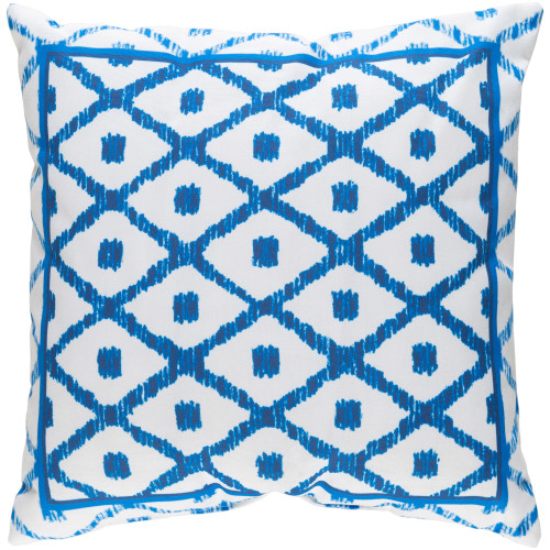 """20"""" White and Lapis Blue Digitally Printed Square Throw Pillow Cover - IMAGE 1"""