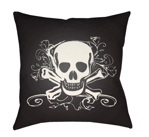"""18"""" Black and White Danger to Life Printed Square Throw Pillow Cover with Knife Edge - IMAGE 1"""