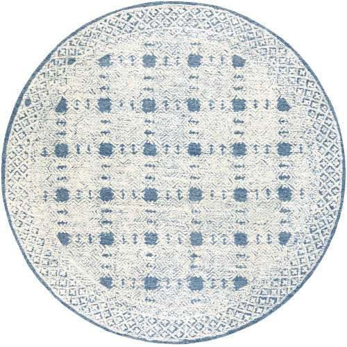 8' Blue and Beige Geometric Patterned Round Hand Tufted Area Rug - IMAGE 1