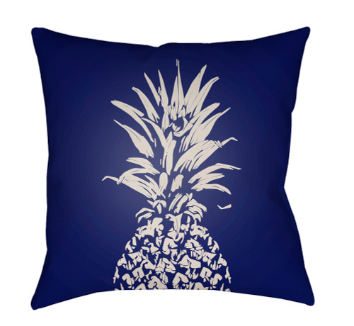 "18"" Blue and White Pineapple Printed Square Throw Pillow Cover with Knife Edge - IMAGE 1"