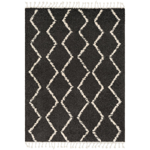 3.9' x 5.5' Moroccan Charcoal Black and Ivory Rectangular Area Throw Rug with Tassels - IMAGE 1