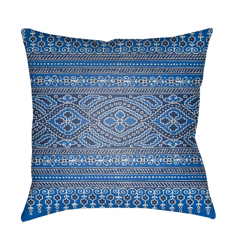 """20"""" Cobalt Blue and Fossil Gray Digitally Printed Square Throw Pillow Cover - IMAGE 1"""