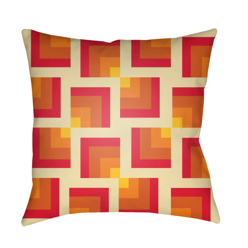 """20"""" Bright Red and Burnt Orange Throw Pillow Cover with Knife Edge - IMAGE 1"""