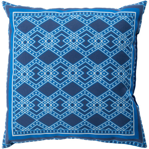 """20"""" Cobalt Blue and Frost White Digitally Printed Square Throw Pillow Cover - IMAGE 1"""