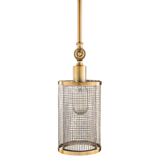"12.25"" Antiqued Gold Color Metal Screen Cylindrical Ceiling Lighting - IMAGE 1"