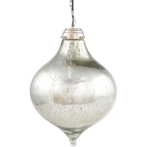 """22"""" Contemporary Style Clear and Silver Colored Hanging Pendant Ceiling Light Fixture - IMAGE 1"""