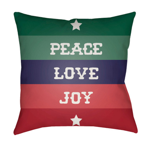 """18"""" Red and Blue """"PEACE LOVE JOY"""" Throw Pillow Cover - IMAGE 1"""
