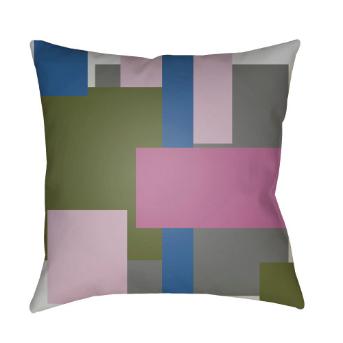 """20"""" Olive Green and Pink Geometric Throw Pillow Cover - IMAGE 1"""