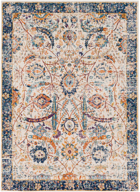 3.9' x 5.5' Contemporary Style Beige and Navy Blue Rectangular Area Throw Rug - IMAGE 1