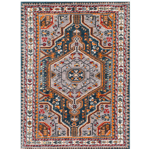 """3'11"""" x 5'7"""" Traditional Oriental Design Gray and Navy Blue Rectangular Area Throw Rug - IMAGE 1"""