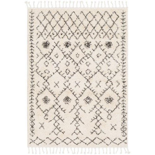 3.9' x 5.5' Alabaster White and Brown Rectangular Area Throw Rug with Tassels - IMAGE 1
