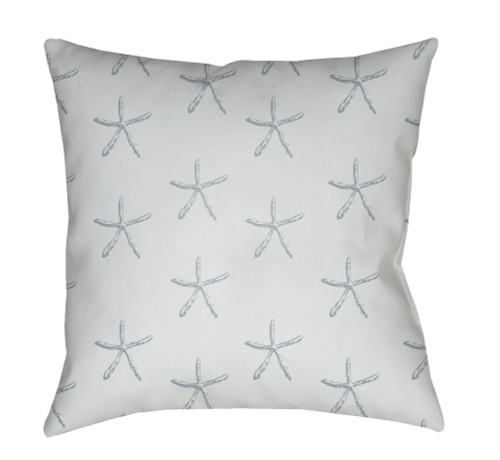 """20"""" White and Gray Starfish Printed Square Throw Pillow Cover - IMAGE 1"""