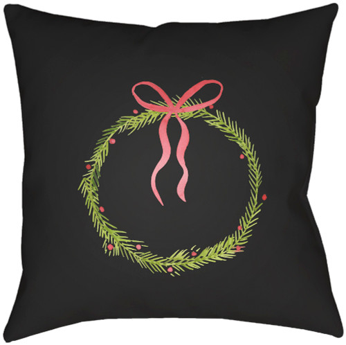 """18"""" Black and Green Christmas Wreath Printed Square Throw Pillow Cover - IMAGE 1"""