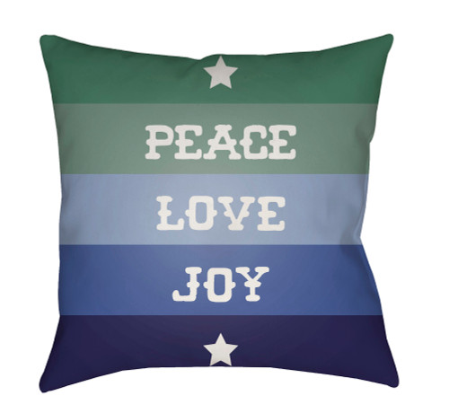 """18"""" Green and Blue """"PEACE LOVE JOY"""" Throw Pillow Cover - IMAGE 1"""