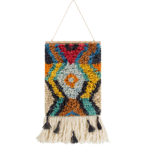 """23"""" Cream White and Yellow Hand Knotted Wall Hanging with Fringe Border - IMAGE 1"""