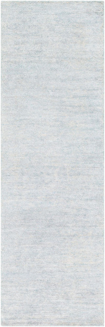 2.5' x 8' Solid Pale Blue Hand Woven Rectangular Area Throw Rug Runner - IMAGE 1