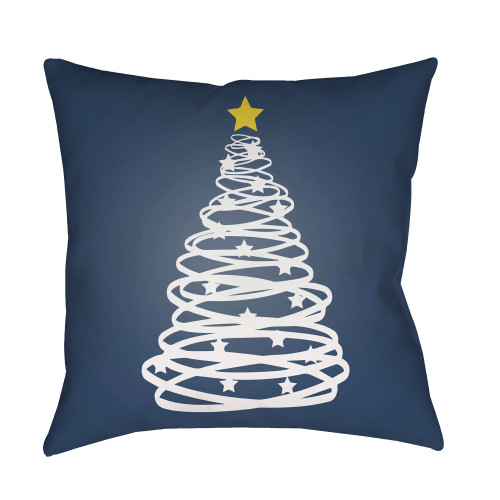 """20"""" Denim Blue and White Christmas Tree Printed Square Throw Pillow Cover - IMAGE 1"""