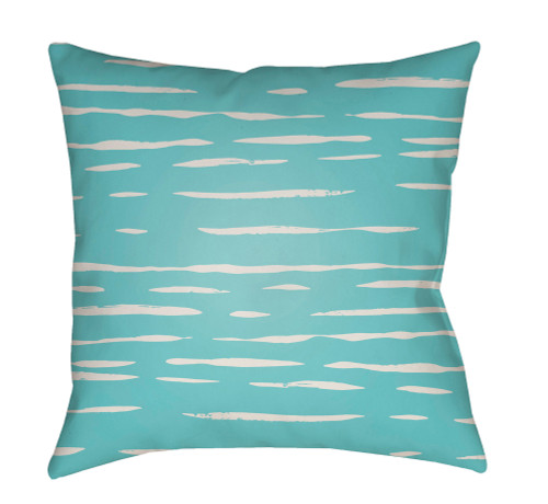 """18"""" Blue and Ivory Striped Square Throw Pillow Cover with Knife Edge - IMAGE 1"""