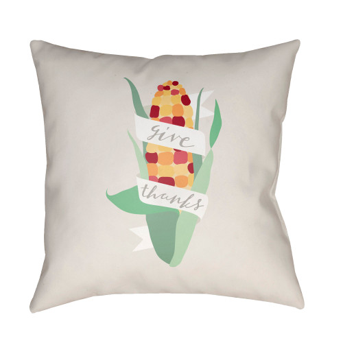 "20"" White and Green ""Give Thanks"" Throw Pillow Cover - IMAGE 1"