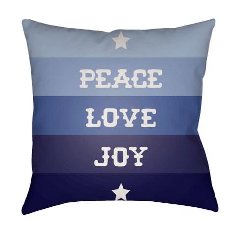 """18"""" Blue and White """"PEACE LOVE JOY"""" Throw Pillow Cover - IMAGE 1"""