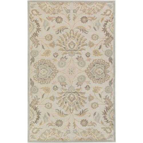 2' x 3' Floral Pattern Brown Rectangular Wool Area Rug - IMAGE 1