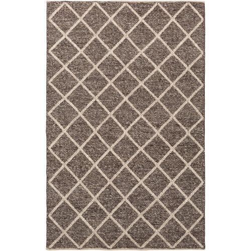 2' x 3' Braided Textured Coffee Brown and Beige Hand Woven Rectangular Wool Area Throw Rug - IMAGE 1