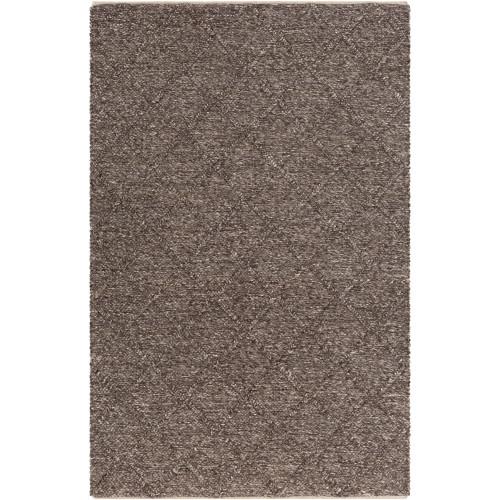 2' x 3' Braided Textured Coffee Brown Hand Woven Rectangular Wool Area Throw Rug - IMAGE 1