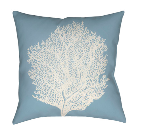 """20"""" Blue and White Coral Printed Square Throw Pillow Cover - IMAGE 1"""