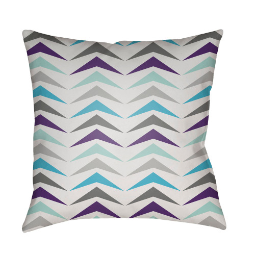 """20"""" Gray and Blue Knife Edge Throw Pillow Cover - IMAGE 1"""