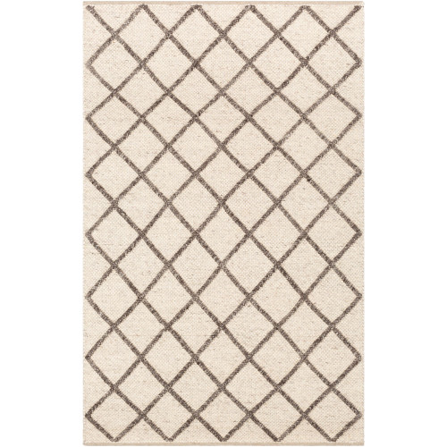 2' x 3' Braided Textured Beige and Brown Hand Woven Rectangular Wool Area Throw Rug - IMAGE 1