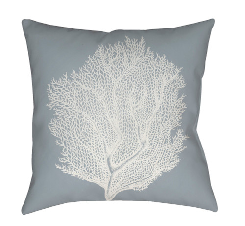 """20"""" Gray and White Coral Printed Square Throw Pillow Cover - IMAGE 1"""