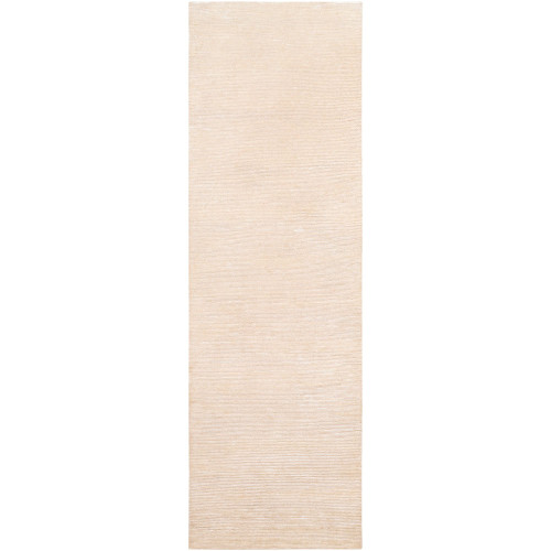2.5' x 8' Solid Beige Hand Knotted Area Throw Rug Runner - IMAGE 1