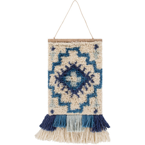 "23"" Cream White and Blue Hand Knotted Wall Hanging with Fringe Border - IMAGE 1"